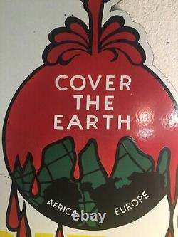 Vintage Sherwin Williams Cover The Earth porcelain double sided sign flange