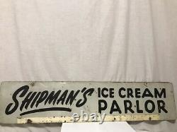 Vintage Shipman's Ice Cream Parlor Double Sided Metal Advertising Sign