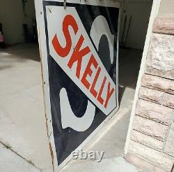 Vintage Skelly Gas Station Porcelain Advertising Sign Double Sided 48 Very Nice
