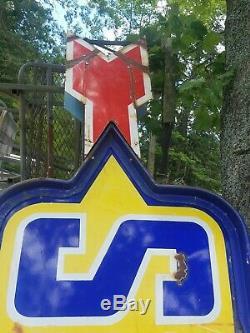 Vintage Sunoco Gas Oil Service Station Gasoline Double Sided Porcelain Pole Sign