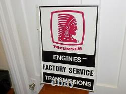Vintage Tecumseh Engines Factory Service Transmissions Double Sided Flange Sign