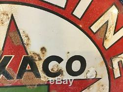 Vintage Texaco Double Sided Sign With Hanger Rim 42