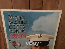 Vintage The Marines Corp Builds Men 1967 Recruiting Sign Semper Fi Double Sided