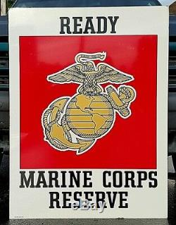 Vintage US Marine Corps Reserve Recruitment Double Sided Heavy Metal Sign 40x30