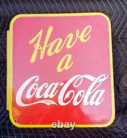 Vintage VILAS 1941 Canadian Double Sided Have a Coca-Cola Flange Sign Rare