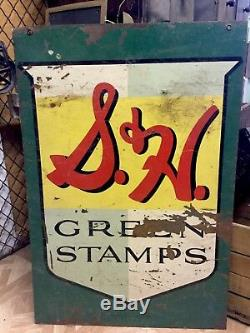 Vintage We Give S & H Green Stamps Sign The Mathews Company 588S Double Sided