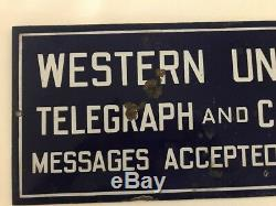 Vintage Western Union Porcelain Sign Double Sided