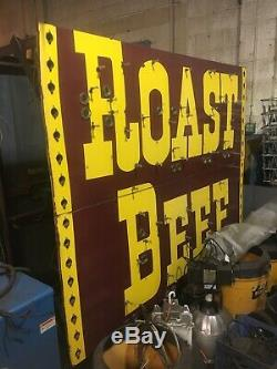 Vintage neon sign original 18 foot Arbys hat double sided removed from Flint