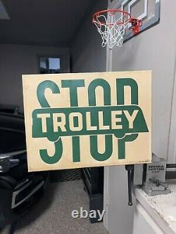 Vintage stop trolley double sided porcelain sign