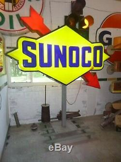 Vintage sunoco oil gas station sign light up antique double sided working sign