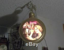 Vtg. 1959 Double Sided Hanging Budweiser Beer Lighted Pocket Watch Style Sign