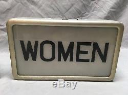Vtg Aluminum Men Women Double Sided Restroom Sign Light Fixtures Retro 333-18E