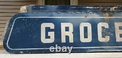 Vtg Groceries Double Sided Metal Bottom Part of Hershey's Ice Cream Sign 57x10