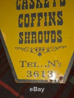 Vtg Mortuary Undertakers Double sided porcelain Adv. Sign