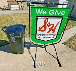 Vtg S&H Green Stamps Double Sided Large Curbside Wind Spinner Sign Stand 54x39