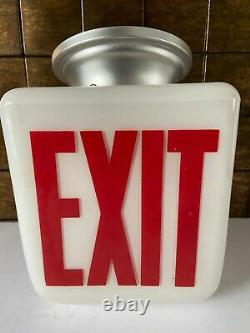 Vtg White Double Sided Exit Light Sign Fixture Cinema Movie Theater 1950