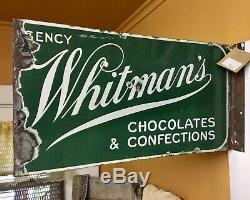 Vtg Whitman's Chocolates & Confections Candy Double Sided Flange Porcelain Sign