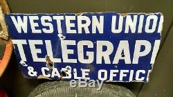 Western Union Telegraph And Cable Office Porcelain Double Sided Sign Rare
