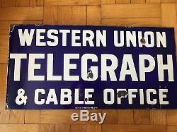 Western Union Telegraph and Cable Office Double Sided Flange Porcelain Sign