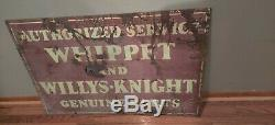 Whippet Willy's Knight Authorized Service Double Sided Porcelain Sign, Original