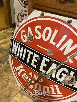 White Eagle Gasoline Porcelain Double Sided Advertising Sign