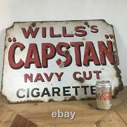 Willss Capstan Enamel Advertising Sign Double Sided Original Vintage Retro