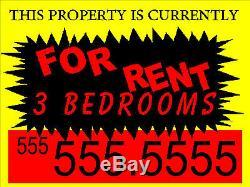 100 Pack 18x24 Full Color / Double Face / Plaque Immobilier Et Signes De Jardin