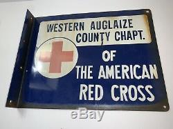 14 Original Rare Vintage Croix-rouge Américaine À Double Face En Porcelaine Adv. Signe