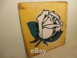 17x18 Org Authentique. 1940 Porcelaine Rose Blanche À Double Face Huile De Signe Et De Gaz Adv