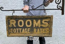 1900 Antique D'origine Aafa Early Double Sided Chambres En Bois Commerce Connectez-vous Withbracket