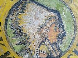 1920-30s Folk Art Double Face Keokuk, Iowa Medicines Connexion Avec Indian