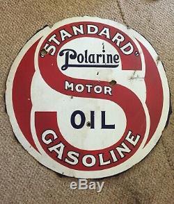 1920 Vintage Americana Signe De Porcelaine Gazole Standard Polarine. Double Face