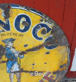 1920 Vintage Conoco Minuteman Essence Double Sided Porcelaine Publicité Signe