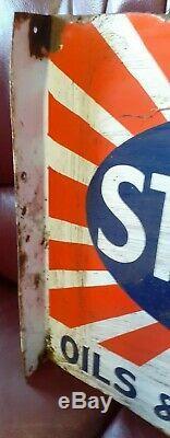 1920 Vintage Émail Sternol Moteur Signe X 18 2ft À Environ Double Faces