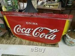 1929-1941 Coca Cola Double Face Sign Porcelain 3'x5'