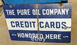 1930-40s Pure Oil Company Cartes De Crédit Honoré Porcelaine Double Sided Sign- Gaz