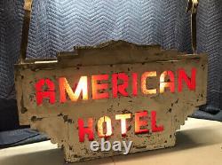 1930 American Vintage Hôtel Lumineux Tin Double Neon Publicitaire Dégrossie Signe