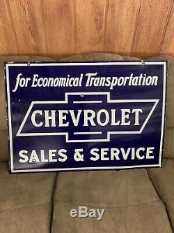 1930 Antique Signe Double Porcelaine Face Chevrolet Vente Et Service 40x28