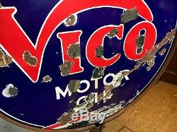 1930 Original Vico Motor Oil Double Face Porcelaine Signez Et Stand Curbside