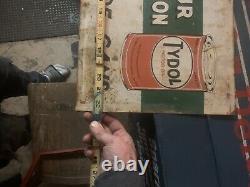 1930 Panneau D'huile De Veedol Extrêmement Rare Double Face Tydol Panneau D'huile De Veedol Panneau D'huile