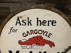 1930 Vintage Gargoyle Mobil Double Face Porcelaine Lollipop Signe Gaz Huile Curb