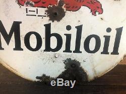 1930 Vintage Old Gargoyle Mobiloils Double Face Porcelaine Lollipop Connectez-oil Gas