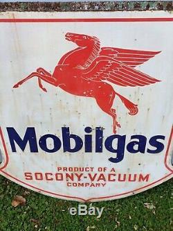1932 Gas Mobile Socony Vide Double Face Porcelaine 48 Bouclier Pegasus Sign