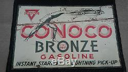 1933 Conoco Bronze Double Face Affichage Tin Sign & Matching Carte Bronze 1930