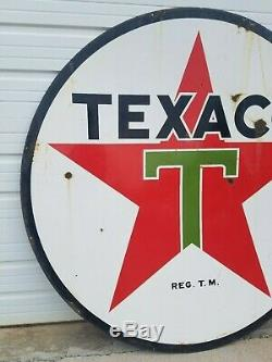 1939 Texaco Double Sided Station Porcelaine 72 Gas Filling Station Dealer Connexion