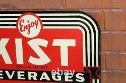 1940-50s Kist Beverages Soda Publicité Double Sided Tin Flange Sign