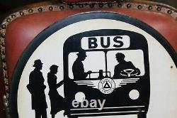 1940-50s Station D'autobus Service De Police Double Côté Courbe De Porcelaine Panneau Publicitaire