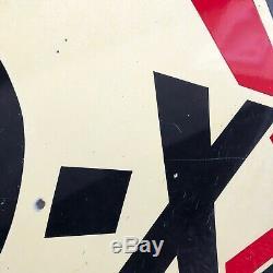 1940 D-x D'origine Huile Moteur À Double Face Porcelaine Signe De Cru De Gaz Vieux