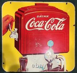 1940 Original Double Face Porcelaine Coca Cola Soda Fountain Signe Suspendu