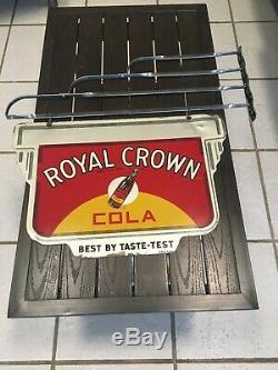 1940 Royal Crown Cola Suspendu Double Signe Face Avec Bouteille Rc Cola